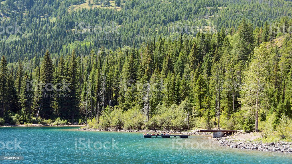 Waterton National Park lake dock with view from Waterton Lake stock photo