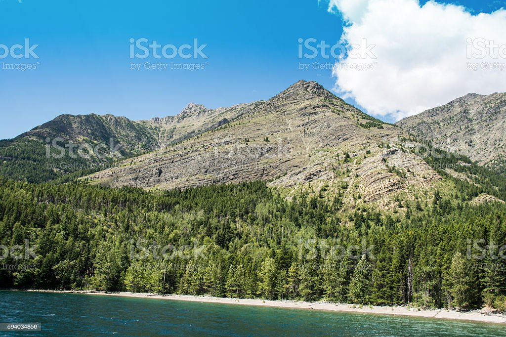 Waterton National Park with view from Waterton Lake stock photo