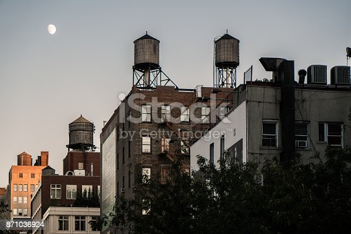 Iconic NYC watertowers accompanied by a full moon
