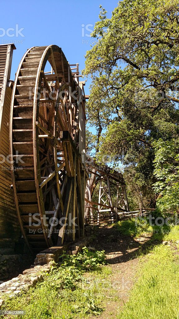 Waterwheel Bale Grist Mill State Historic Park Calistoga California stock photo