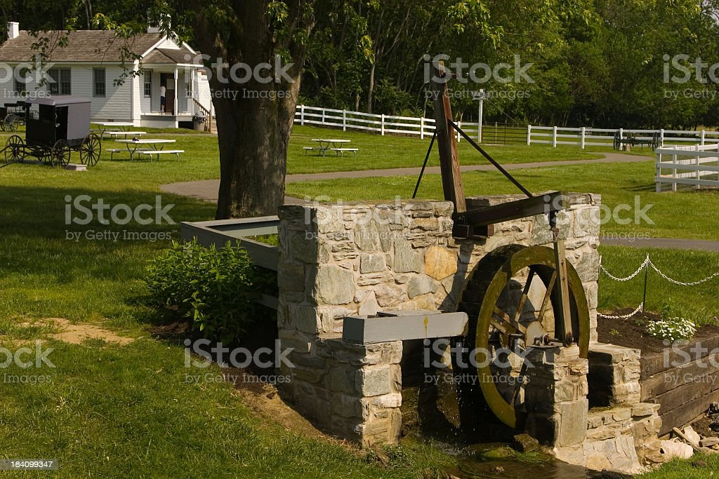 Waterwheel in the Amish village royalty-free stock photo