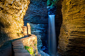 Various waterfalls, cascades, bridges and points of interest along hiking trails at Watkins Glen
