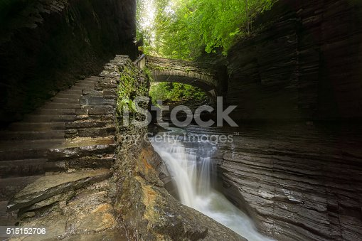 istock Watkins Glen State Park Sunbeams Through Foliage at Central Cascade 515152706