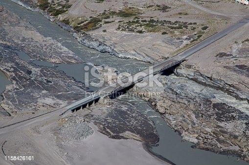 Kangerlussuaq, Greenland - July 13, 2018: High angle view of the Watson River Bridge