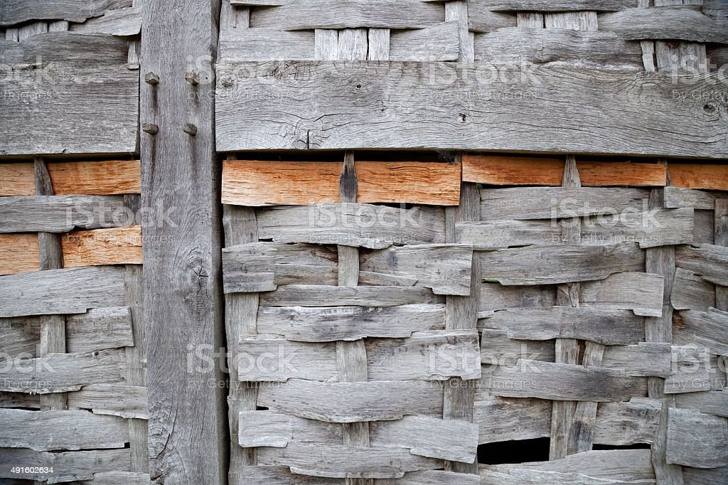 Wattle and timber-framed building panel, England stock photo