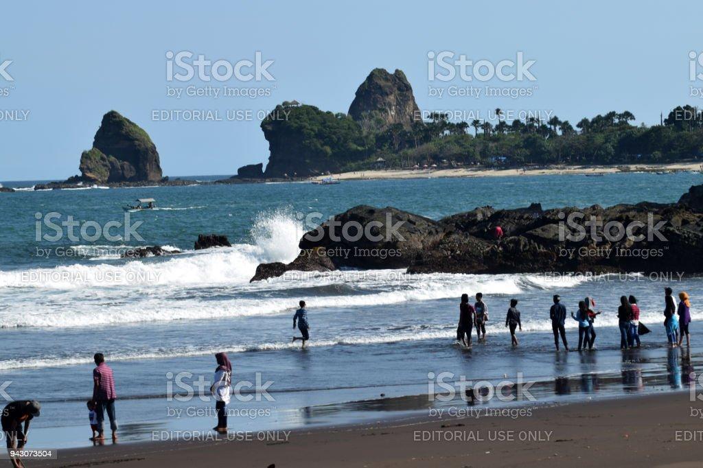 Watu Ulo beach Jember, Indonesia stock photo
