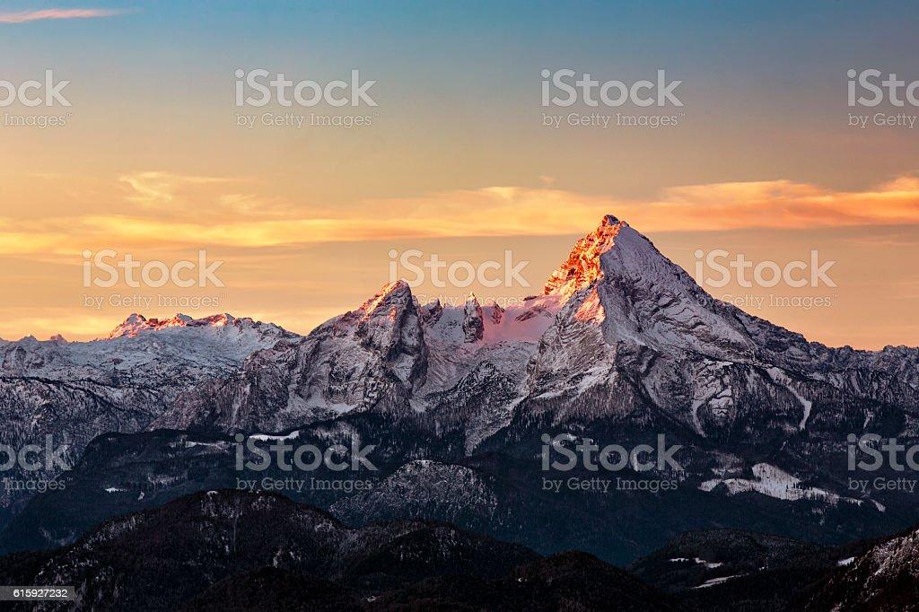 Watzmann at Sunrise in Winter stock photo