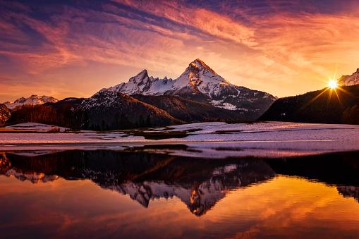 Winter, Snow, Germany, Bavaria, Berchtesgaden