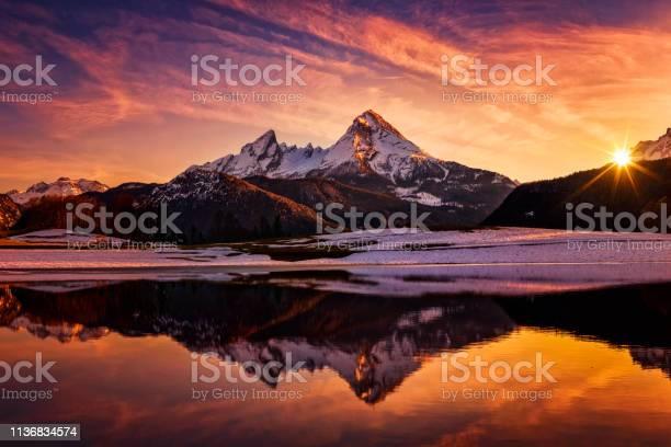 Photo of Watzmann in Alps, dramatic reflection at sunset - National Park Berchtesgaden