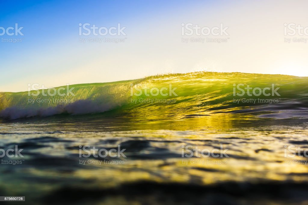 Wave at sunset or sunrise in ocean. Wave and with green or yellow colors and blue sky stock photo