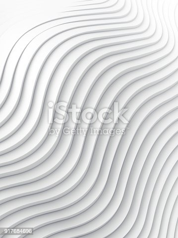 Wave band surface Abstract white background. Digital 3d illustration