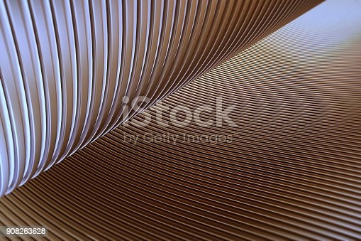 istock Wave band abstract background surface 3d rendering,metal stripe pattern background. 908263628