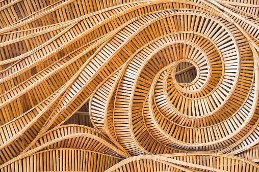 istock wave brown handicraft weave texture bamboo surface 513809446