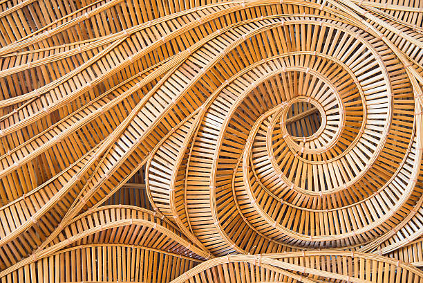 wave brown handicraft weave texture bamboo surface stock photo