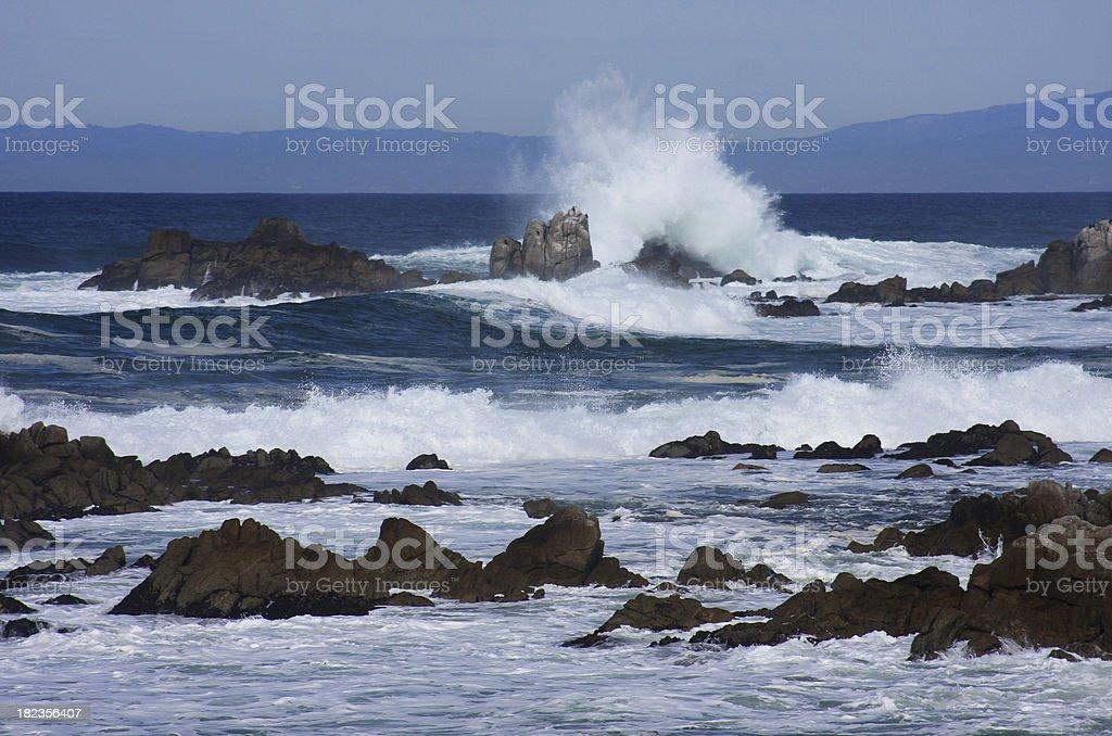 Wave crashes on the California coast royalty-free stock photo