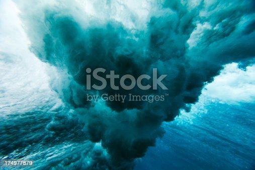 istock Wave crashing underwater 174977879