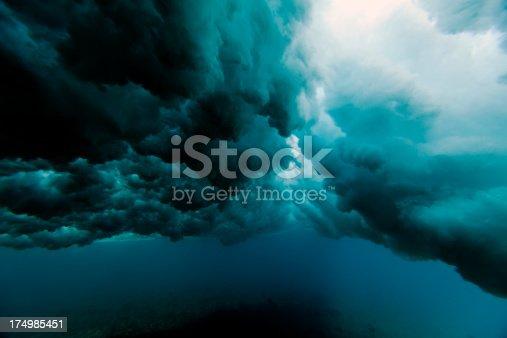 istock Wave crashing underwater 174985451