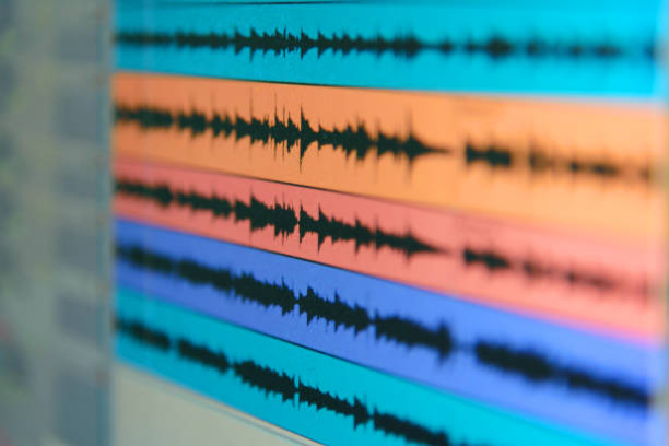 wave file of sound on monitor stock photo