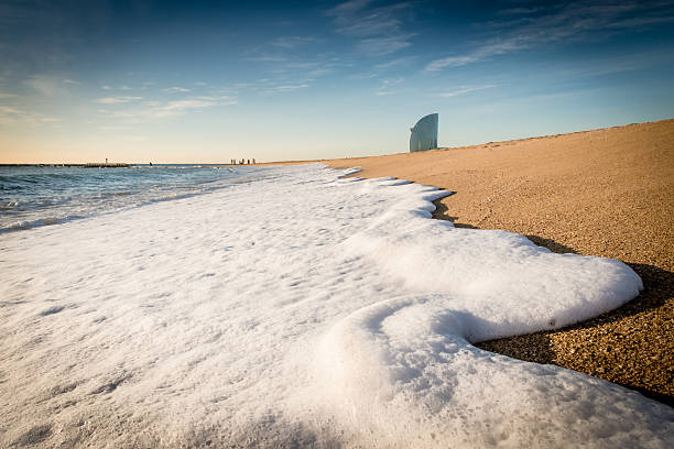 Wave foam on the beach - foto de stock