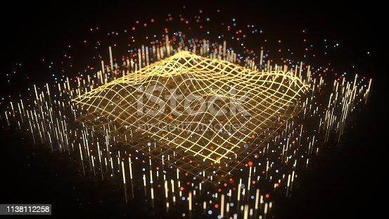Wave graph in perspective view. Science fiction design. Data processing concept. 3D rendering with depth of field