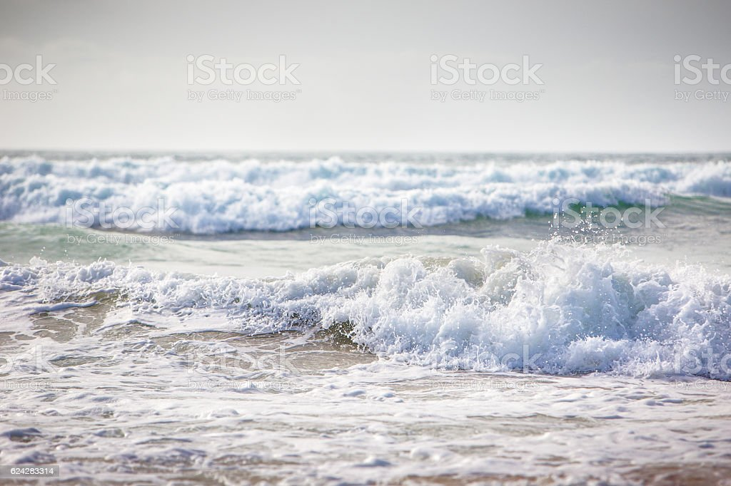Wave in Godrevy, cornwall in england stock photo