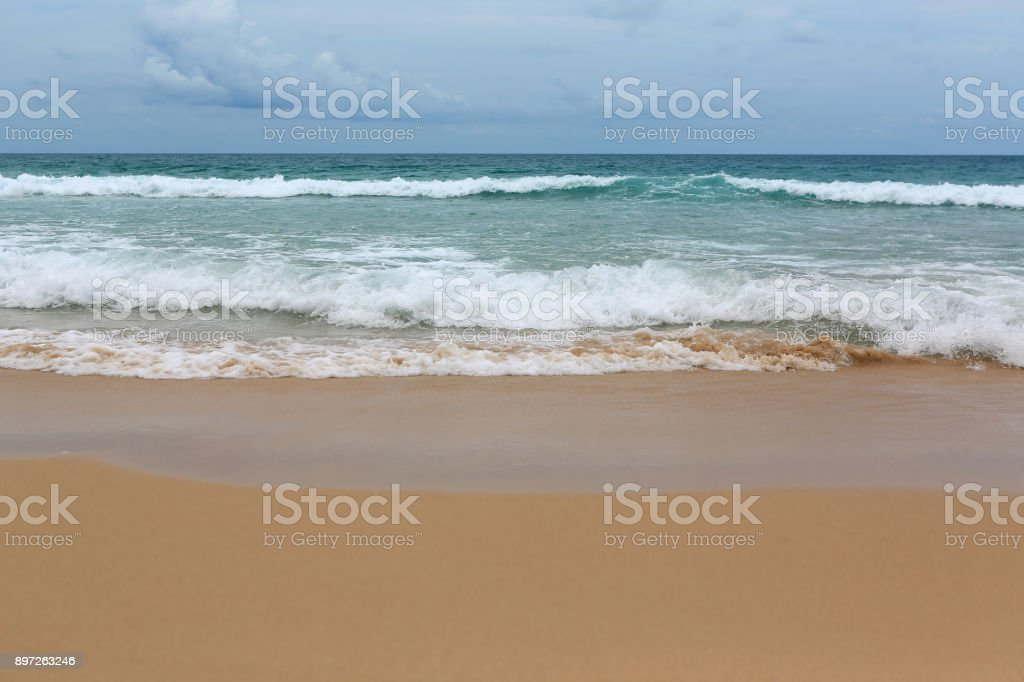 Wave is covering on beach. stock photo