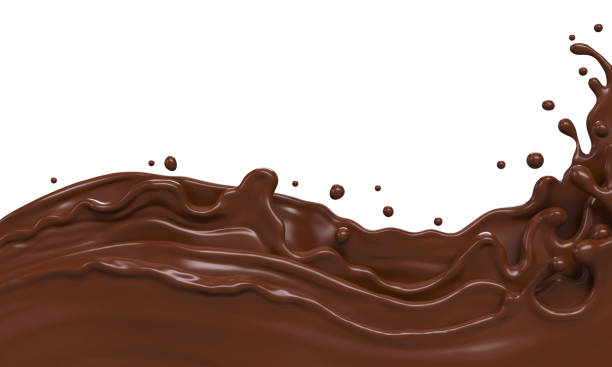 wave of chocolate or cocoa splash - chocolate imagens e fotografias de stock