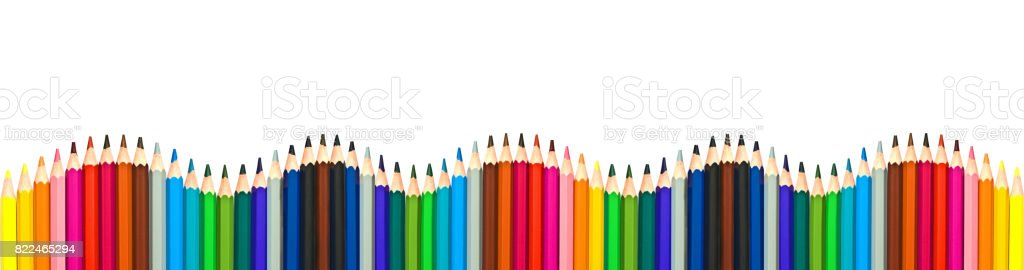 Wave of colorful wooden pencils isolated on white background, panoramic background, back to school concept stock photo