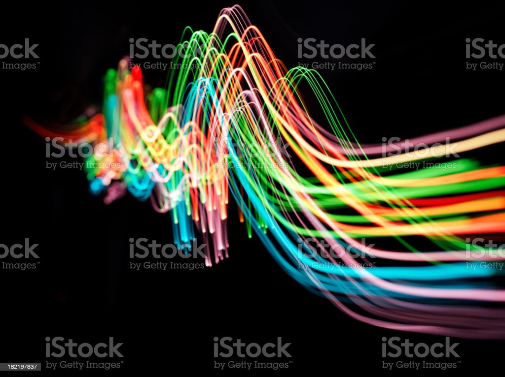 Wave of Coloured Lights stock photo
