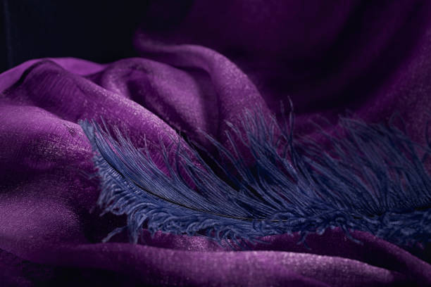 wave of elegant violet textile texture with fine blue feather. - hair line surface stock photos and pictures