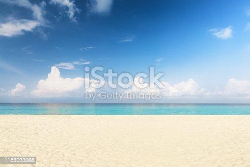 istock Wave of sea on sand beach. 1153033068