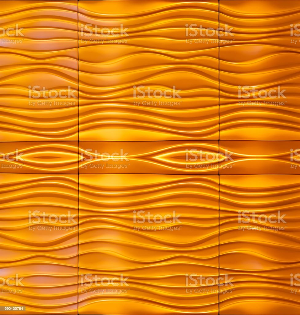 Wave orange yellow pattern wall abstract stock photo