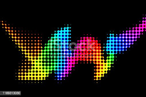 Wave Rainbow Neon Spotted Colorful Ribbon Black Background Multi Colored Wavy Squiggle Pop Art Digitally Generated Image