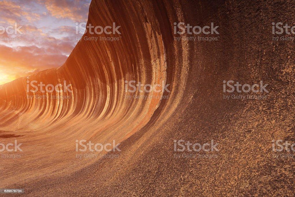 Wave Rock at Sunset, Western Australia stock photo