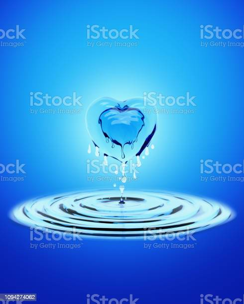 Wave splash of fresh blue water in form of heart shape, concept for love or valentine. 3D rendering illustration.