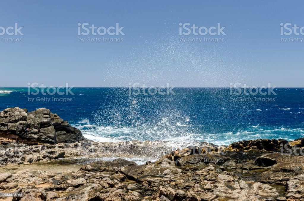 Wave to produce salt. stock photo