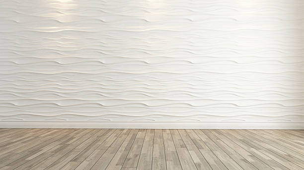 wave wall decoration with wooden floor rendering stock photo