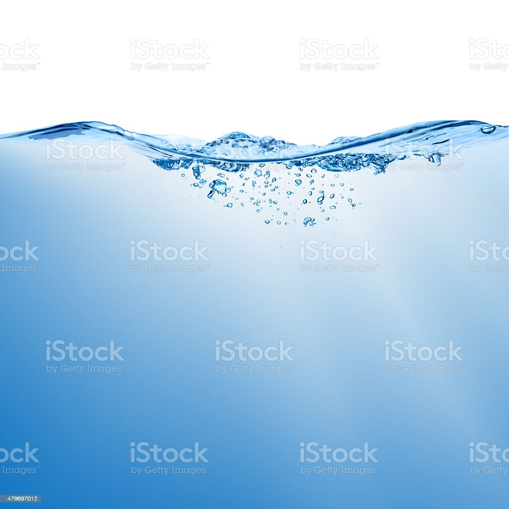 Wave with splash on the water surface. stock photo