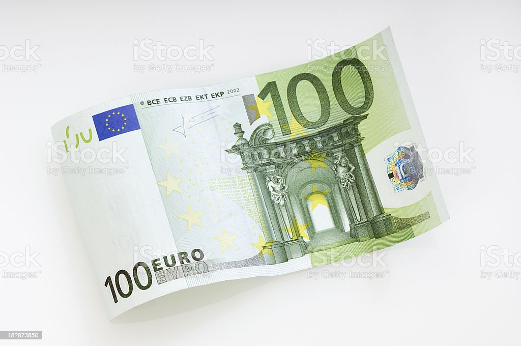 Waved 100 Euro note royalty-free stock photo