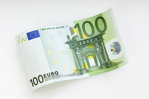 Waved 100 Euro note stock photo