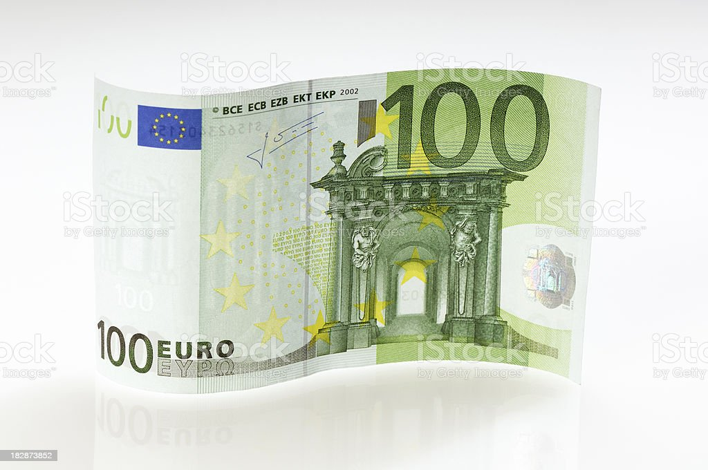 Waved 100 Euro note stock photo