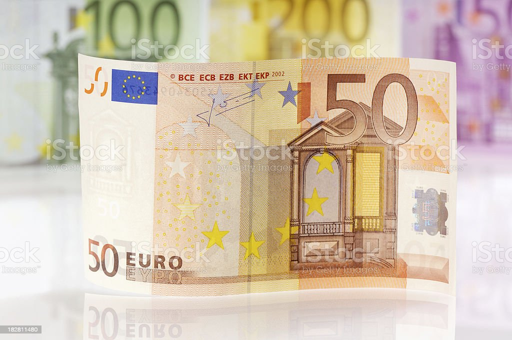 Waved fifty Euro note stock photo