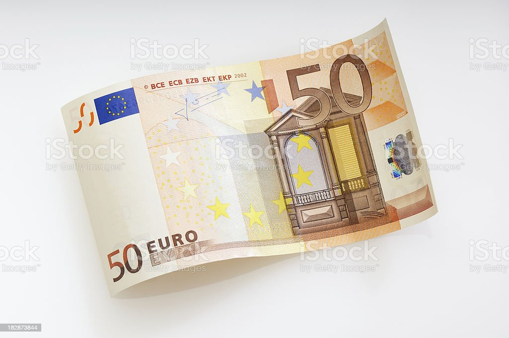Waved fifty Euro note royalty-free stock photo