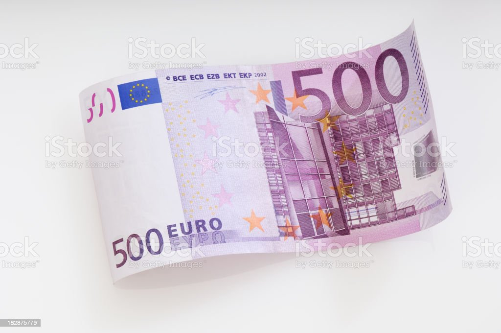 Waved five hundret Euro note stock photo
