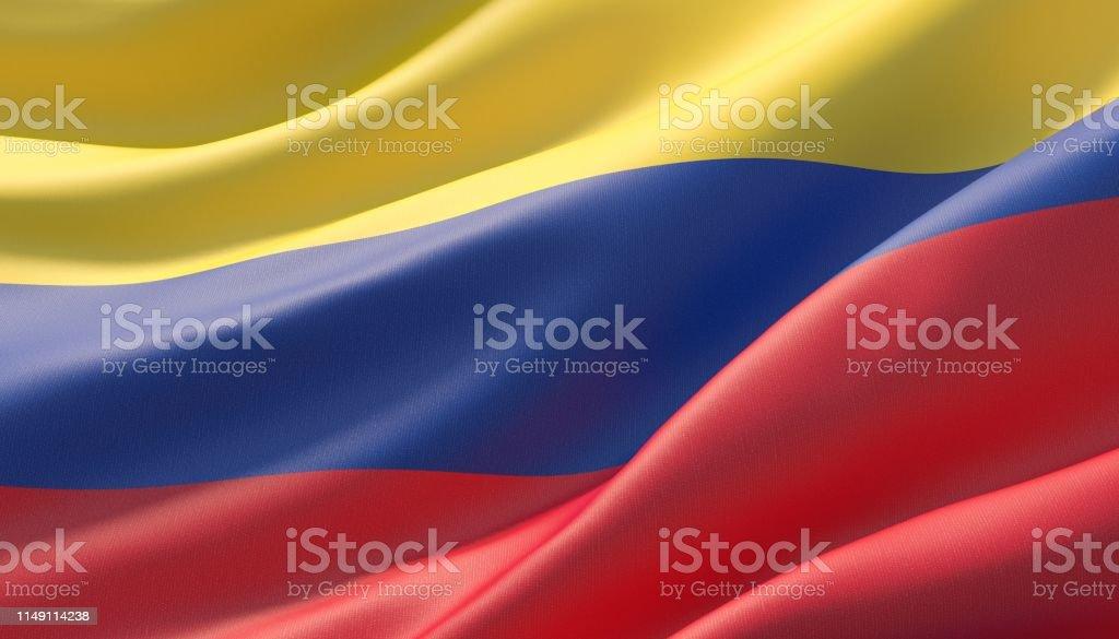 Gegolfd zeer gedetailleerde close-up vlag van Colombia. 3D illustratie. - Royalty-free Achtergrond - Thema Stockfoto