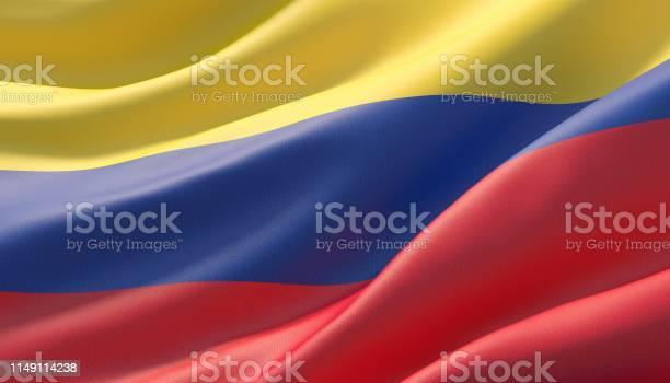 Gegolfd Zeer Gedetailleerde Closeup Vlag Van Colombia 3d Illustratie Stockfoto en meer beelden van Achtergrond - Thema