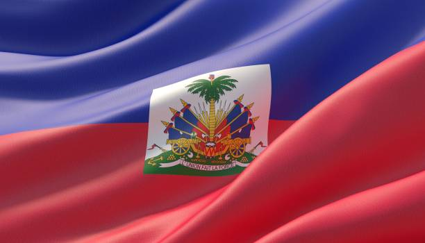 Waved highly detailed close-up flag of Haiti. 3D illustration. Background with flag of Haiti Haiti Flag stock pictures, royalty-free photos & images