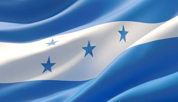 Waved highly detailed close-up flag of Honduras. 3D illustration. Background with flag of Honduras honduras stock pictures, royalty-free photos & images