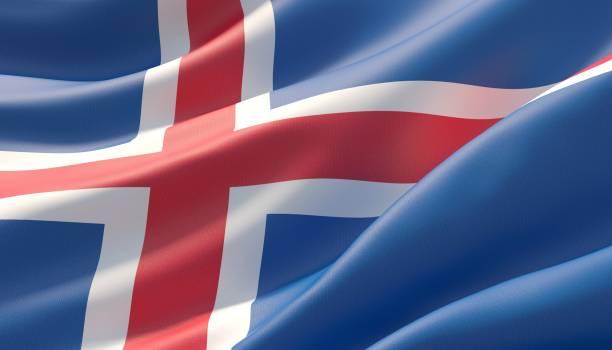 Bandeira altamente detalhada acenada do close-up de Islândia. ilustração 3D. - foto de acervo