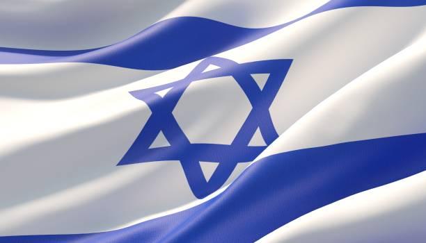 bandeira altamente detalhada acenada do close-up de israel. ilustração 3d. - israel - fotografias e filmes do acervo